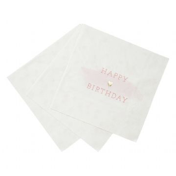 Pink & White HAPPY BIRTHDAY Party Napkins - pack of 16